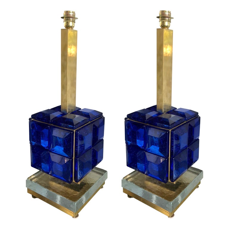 Pair of Italian Cobalt Blue Glass and Brass Table Lamps For Sale