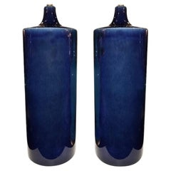 Pair of Italian Cobalt Blue Porcelain Table Lamps