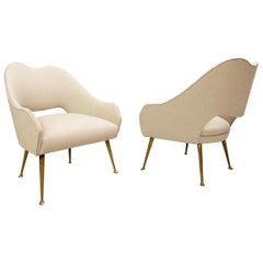 Pair of Italian Cocktail Armchairs, New Upholstery