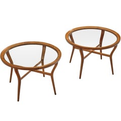 Pair of Italian Coffee Tables in Cherrywood and Glass