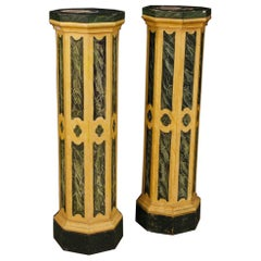 Pair of Italian Columns in Lacquered Wood, 20th Century
