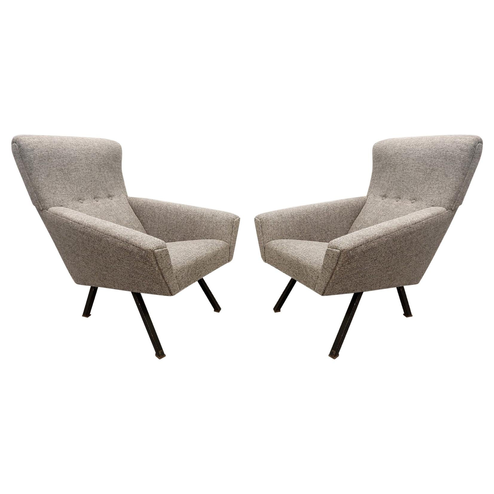 Pair of Italian Comfortable Armchairs with High Backs, New Upholstery