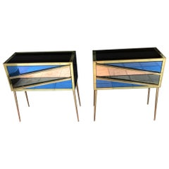 Pair of Italian Commodes in Brass in Tinted Glass and Brass with Two Drawers