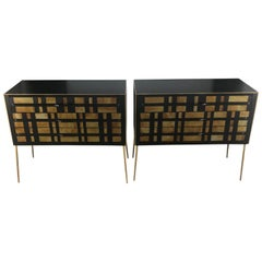 Pair of Italian Commodes in Tinted Glass, Wood, Brass with Three Drawers