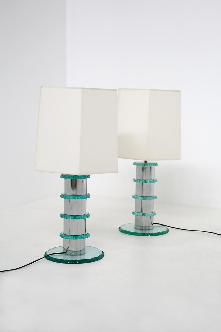 Post-Modern Pair of Italian Contemporary Table Lamps in Hammered Glass and Steel, 2010s For Sale