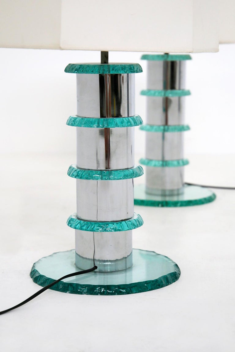 Pair of Italian Contemporary Table Lamps in Hammered Glass and Steel, 2010s In Good Condition For Sale In Milano, IT