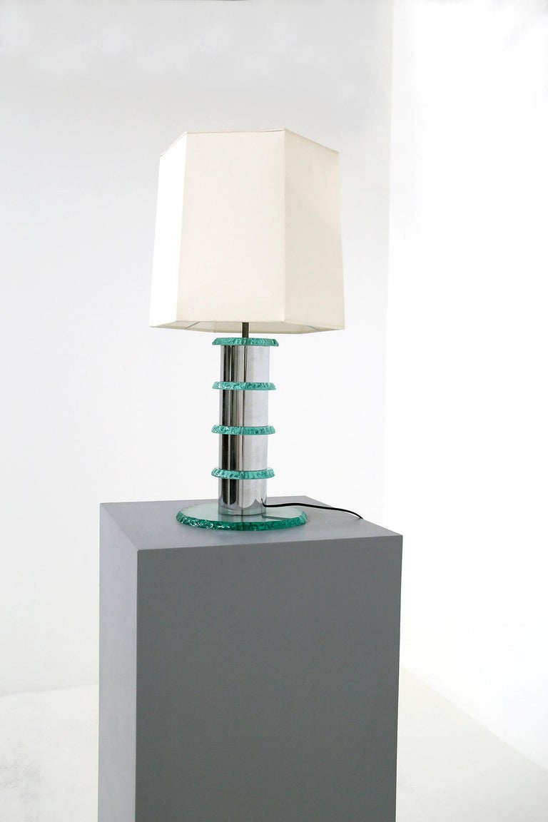 Art Glass Pair of Italian Contemporary Table Lamps in Hammered Glass and Steel, 2010s For Sale