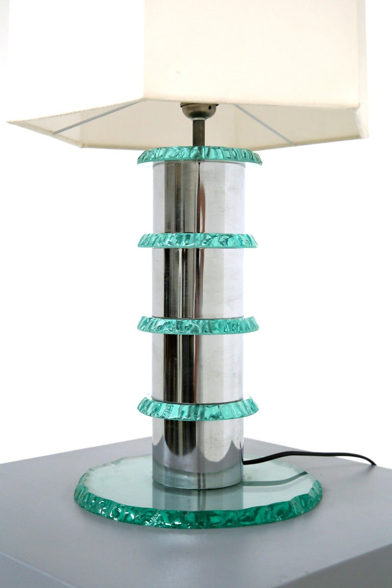 Pair of Italian Contemporary Table Lamps in Hammered Glass and Steel, 2010s For Sale 1