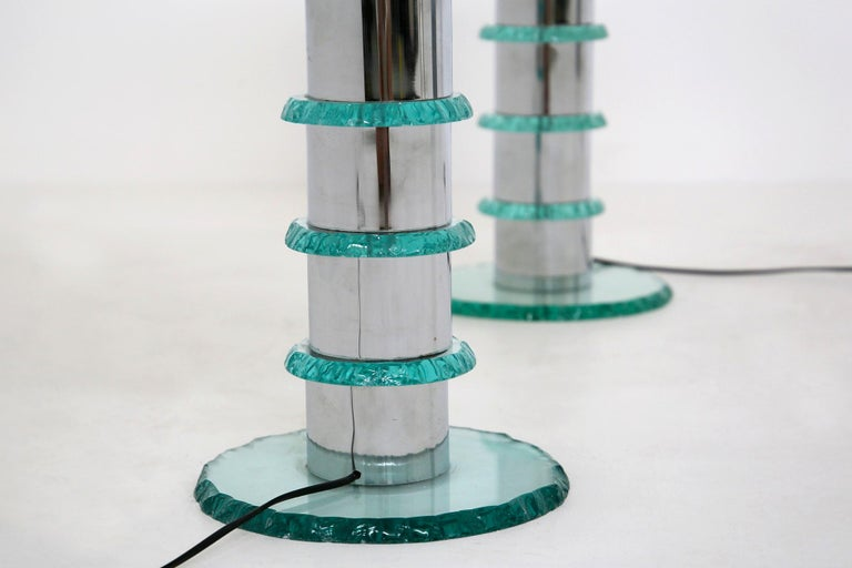 Pair of Italian Contemporary Table Lamps in Hammered Glass and Steel, 2010s For Sale 2