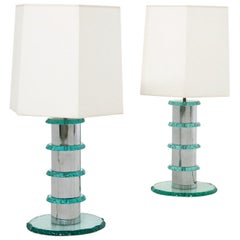 Pair of Italian Contemporary Table Lamps in Hammered Glass and Steel, 2010s