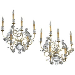 Pair of Italian Crystal and Gold Gilt Parrot Wall Sconces by Banci