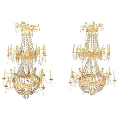 Pair of Italian Crystal Chandeliers Venice Early 19th Century Empire Gold Lights