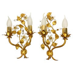 Pair of Italian Crystal Flower Gilt Wall Sconce by Banci Florence, Italy, 1950s