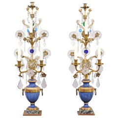 Pair of Italian Crystal, Gilt Metal and Painted Urn Form Girandoles, circa 1890