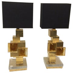 Pair of Italian Cube Sculptural Brass Table Lights Murano Glass, 1970