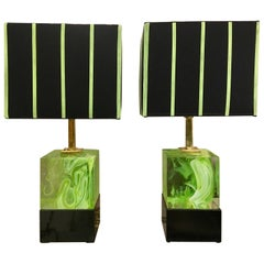 Pair of Italian Cubic Acid Green Murano Glass Lamps Mixed Effect, 2000s