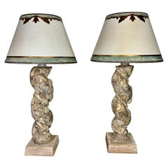 Pair of Italian Culumn lamps with Parchment Shade