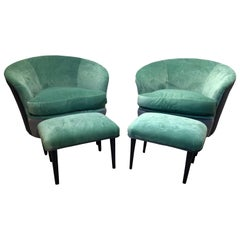 Pair of Italian Curved Chairs and Stools with Mint Green and Grey Upholstery