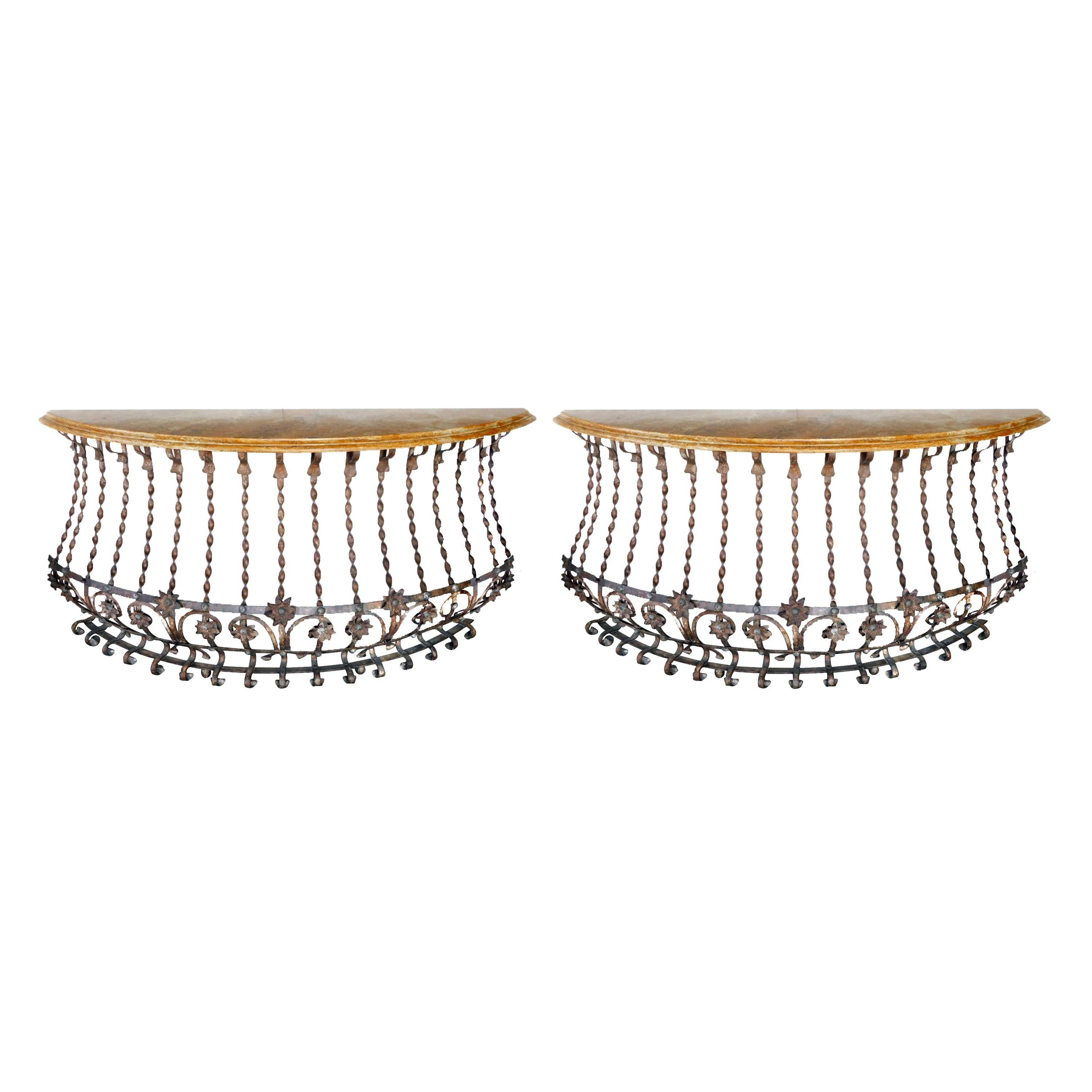Pair of Italian Custom Forged-Iron Demilune Console Tables with Ochre Marble Top