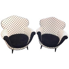 Pair of Italian Deco Lounge Chairs