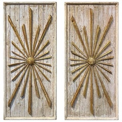 Pair of Italian Decorative Parcel-Gilt Sunburst Panels