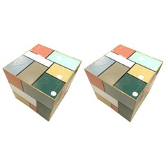 Pair of Italian Designed Glass Cubes/Side Tables in the Style of Piet Mondrian