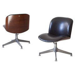 Pair of Italian Desk Chairs by Ico Parisi for MIM Roma, 1950s