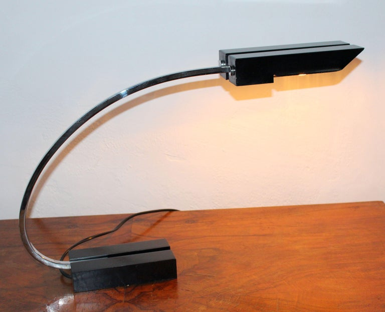 Pair of industrial Italian desk lamp. Each desk lamp have double bulb socket.