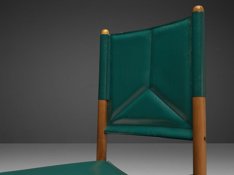 Post-Modern Pair of Italian Dining Chairs in Green and Grey Leather For Sale