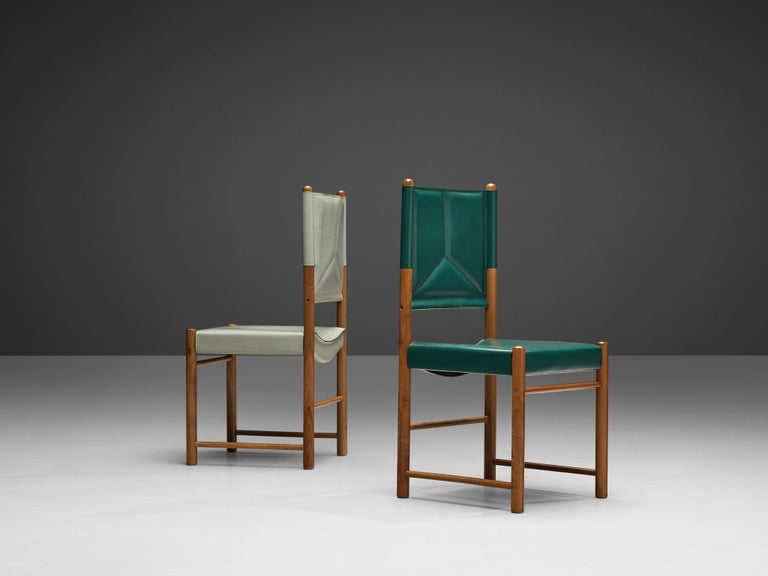 Pair of Italian Dining Chairs in Green and Grey Leather In Good Condition For Sale In Waalwijk, NL