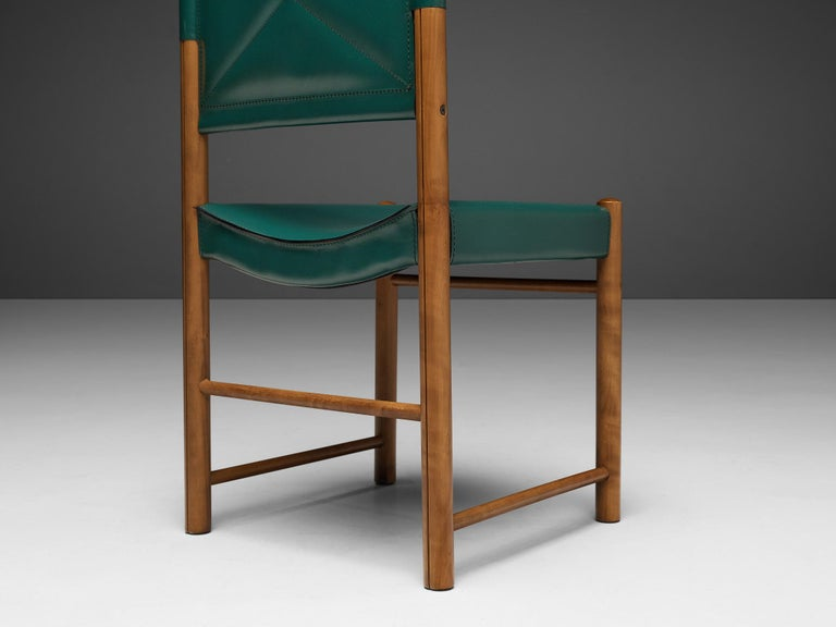 Late 20th Century Pair of Italian Dining Chairs in Green and Grey Leather For Sale