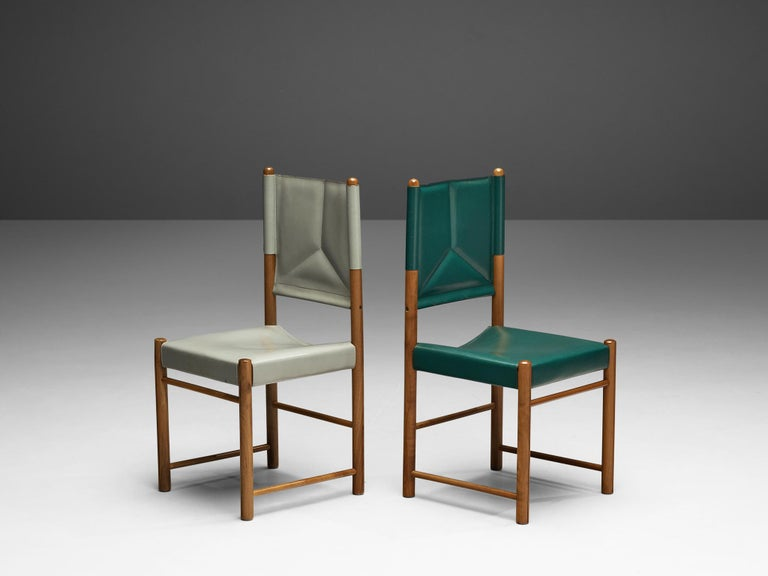 Pair of Italian Dining Chairs in Green and Grey Leather For Sale 1