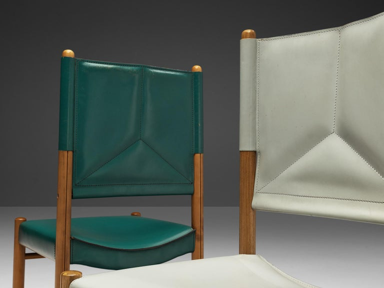Pair of Italian Dining Chairs in Green and Grey Leather For Sale 2
