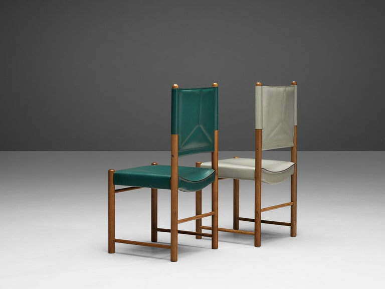 Pair of Italian Dining Chairs in Green and Grey Leather For Sale 3