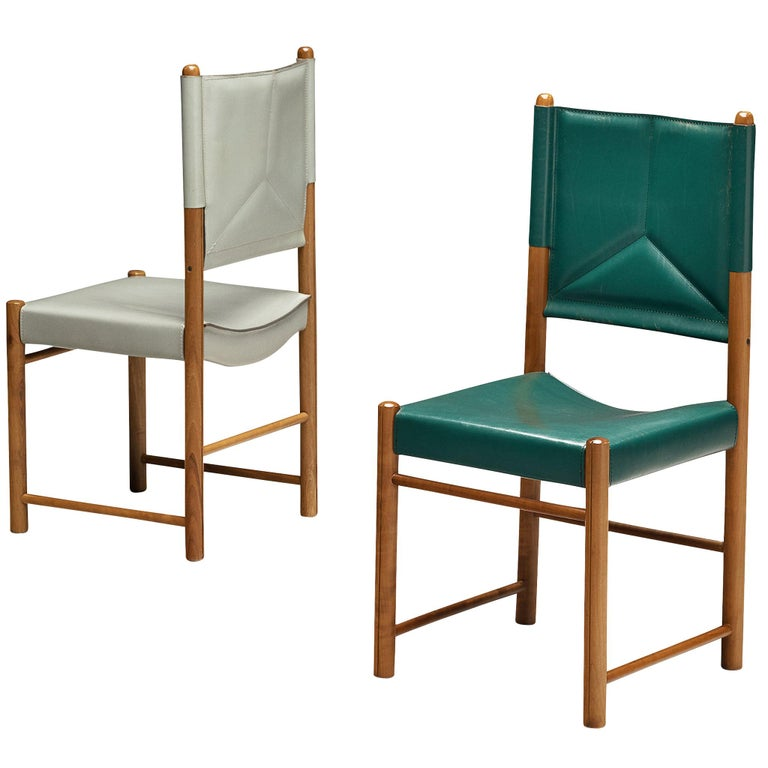 Pair of Italian Dining Chairs in Green and Grey Leather For Sale