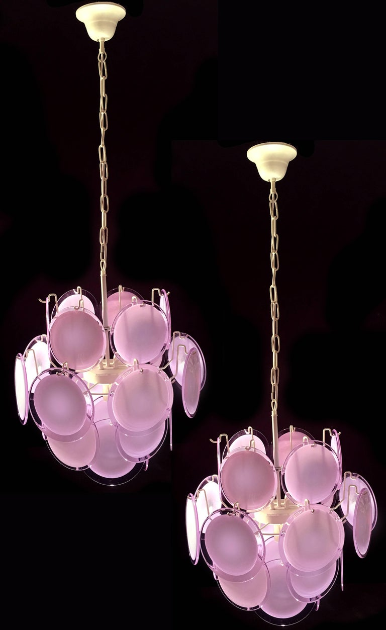 Pair of Italian Disc Chandeliers by Vistosi, Murano, 1970s In Excellent Condition For Sale In Budapest, HU