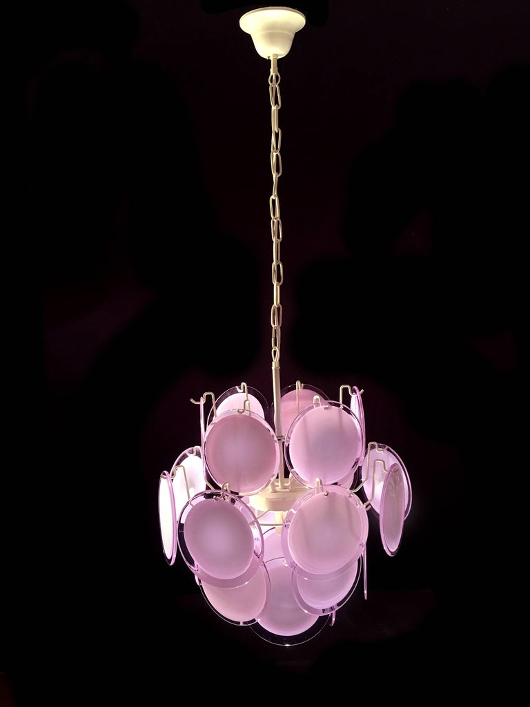 20th Century Pair of Italian Disc Chandeliers by Vistosi, Murano, 1970s For Sale