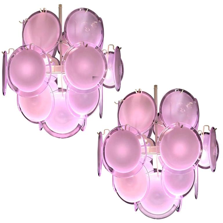 Pair of Italian Disc Chandeliers by Vistosi, Murano, 1970s For Sale