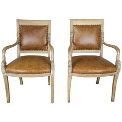 Pair of Italian Dolphin Leather Upholstered Armchairs