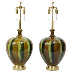 Pair of Italian Drip Glaze Ceramic Lamps