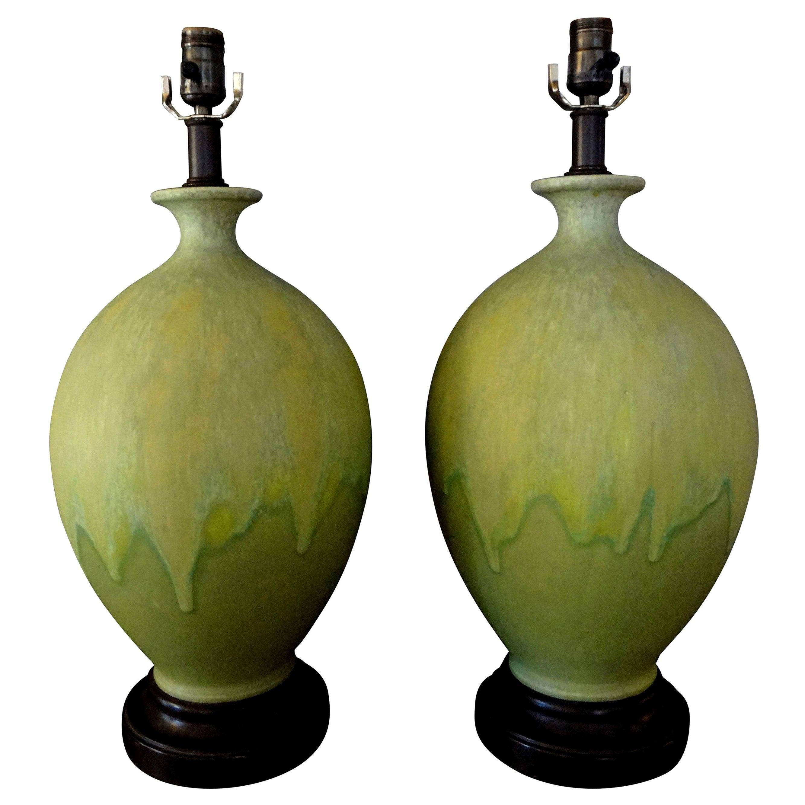 Pair of Italian Drip Glazed Chartreuse Lamps