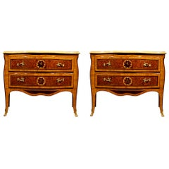 Pair of Italian Early 18th Century Louis XV Period Inlaid Cherrywood Commodes