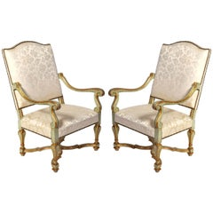 Pair of Italian Early 18th Century Painted Armchairs