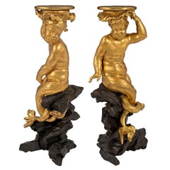 Pair of Italian Early 18th Century Roman Giltwood and Black Polychrome Pedestals