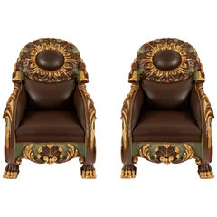 Pair of Italian Early 19th Century Baroque Polychrome and Giltwood Armchairs
