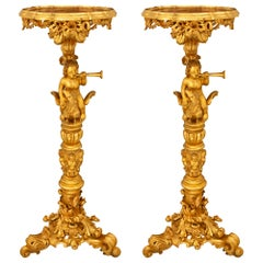 Pair of Italian Early 19th Century Baroque St. Giltwood Pedestals