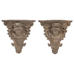 Pair of Italian Early 19th Century Carved and Patinated Venetian Wall Brackets