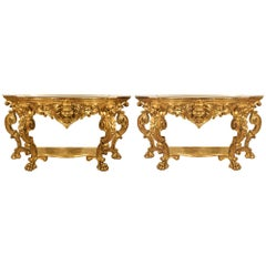 Pair of Italian Early 19th Century Freestanding Lombardi Two-Tier Consoles