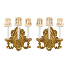 Pair of Italian Early 19th Century Louis XV Style Three-Arm Giltwood Sconces