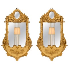 Pair of Italian Early 19th Century Louis XVI Style Mirrored Sconces